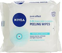 Parfumuri și produse cosmetice Șervețele de curățare 3 în 1 - Nivea Visage Pure Effect Peeling Wipes