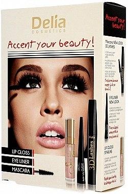 Set - Delia Cosmetics Accent Your Beauty! (lipstick/7ml + mascara/12ml + eyeliner/5ml) — Imagine N1