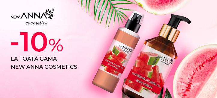 Reducere 10% la toată gama New Anna Cosmetics. Prețurile pe site sunt prezentate cu reduceri