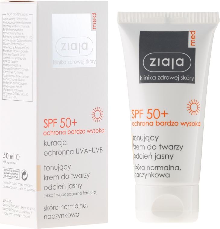 Cremă tonifiantă pentru față SPF 50+ - Ziaja Med Toning Face Cream Light Shade UVA+UVB