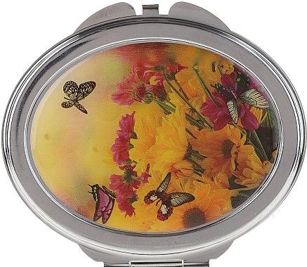 """Oglindă cosmetică de buzunar, """"Fluturi"""", 85451, flori galbene-roșii - Top Choice — Imagine N1"""