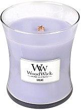 Parfumuri și produse cosmetice Lumânare aromată cu suport din sticlă - WoodWick Hourglass Candle Lilac