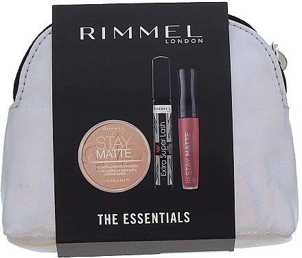 Set - Rimmel Essentials Kit Makeup Gift Set (powder/14g + mascara/8ml + lipstick/5.5ml+bag) — Imagine N1