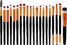 Parfumuri și produse cosmetice Set pensule pentru machiaj, 20 bucăți, negru-auriu - Lewer