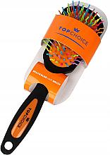 Parfumuri și produse cosmetice Perie de păr, 63978, negru-oranj - Top Choice