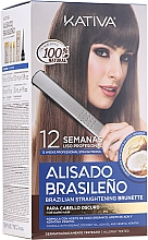 Parfumuri și produse cosmetice Set pentru îndreptarea părului cu keratină, pentru brunete - Kativa Alisado Brasileno Straighten Brunette (shm/15ml + mask/150ml + shm/30ml + cond/30ml + brush/1pcs + gloves/1pcs)
