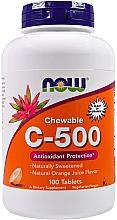 Parfumuri și produse cosmetice Comprimate masticabile C-500, aromă de suc de portocale - Now Foods C-500 Chewable Orange Juice Tablets