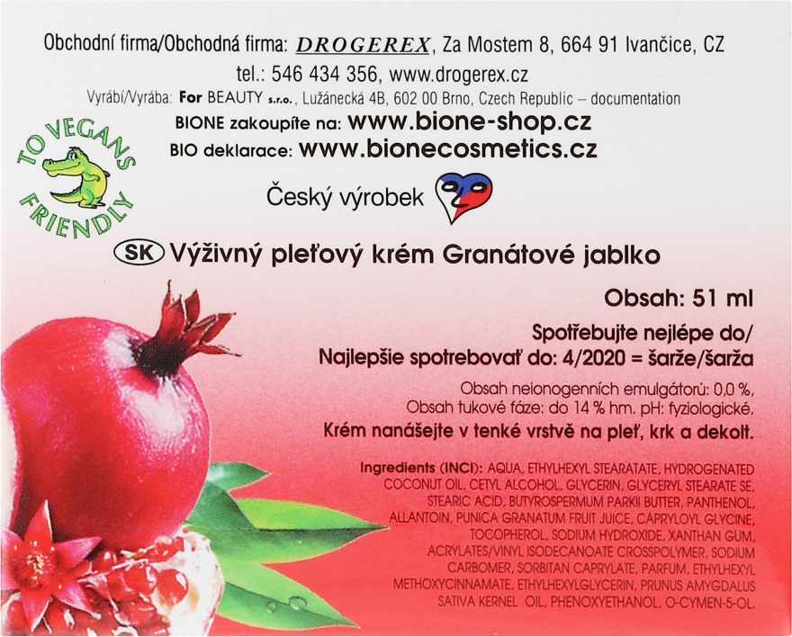 Cremă cu antioxidanți - Bione Cosmetics Pomegranate Nourishing Multi-Active Cream With Antioxidants — Imagine N3