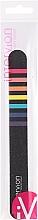 Parfumuri și produse cosmetice Pilă de unghii, neagră cu dungi colorate - Inter-Vion