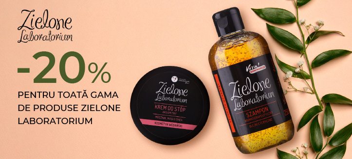 Reducere -20% pentru toată gama de produse Zielone Laboratorium. Prețurile pe site sunt prezentate cu reduceri