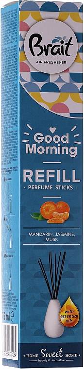 "Difuzor de aromă ""Mandarină, mosc, iasomie"" - Brait Home Sweet Home Refreshing Sticks Good Morning (rezervă)"