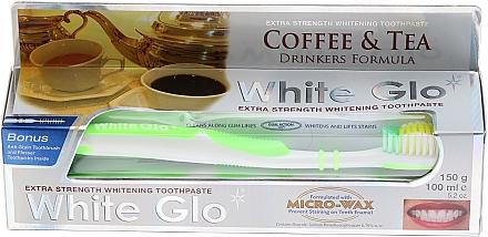 """Set """"Pentru iubitori de ceai și cafea"""", pastă+periuță verde - White Glo Coffee & Tea Drinkers Formula Whitening Toothpaste (toothpaste/100ml + toothbrush) — Imagine N1"""