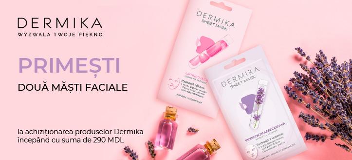 La achiziționarea produselor Dermika, începând cu suma de 290 MDL,  primești în dar două măști faciale