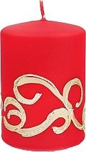 Parfumuri și produse cosmetice Lumânare decorativă, roșie cu decorații, 7x14 cm - Artman Christmas Ornament