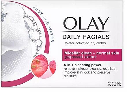 Șervețele uscate pentru curățarea feței - Olay Cleanse Daily Facials Eater Activated Dry Cloths — Imagine N1
