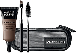 Parfumuri și produse cosmetice Set - Make Up For Ever Aqua Brow Eyebrow Corrector Kit (corrector/7ml+brush/2pcs+bag) (15 -Light Brown)