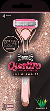 Parfumuri și produse cosmetice Aparat de ras + 1 rezervă - Wilkinson Sword Quattro for Women Rose Gold