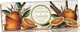 """Parfumuri și produse cosmetice Set săpunuri """"Portocală și scorțișoară"""" - Saponificio Artigianale Fiorentino Orange & Cinnamon (3 x 100g)"""