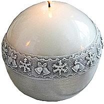 Lumânare decorativă, bilă, gri, 10 cm - Artman Christmas Time — Imagine N1