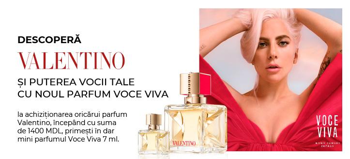 La achiziționarea oricărui parfum Valentino, începând cu suma de 1400 MDL, primești în dar mini parfumul Voce Viva