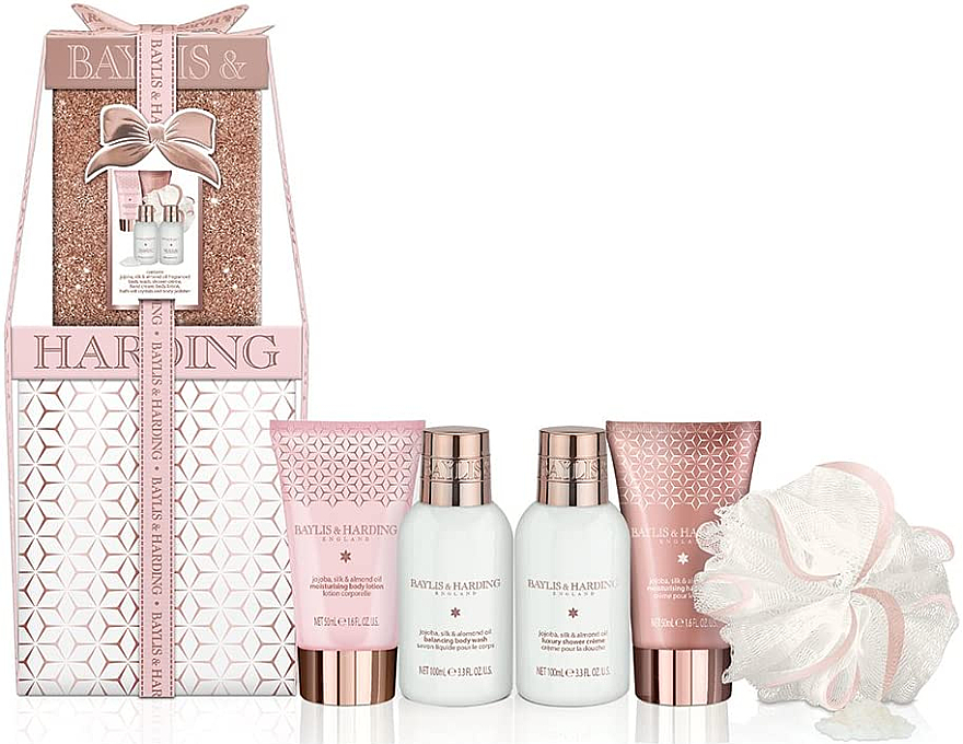 Set - Baylis & Harding Jojoba, Vanilla & Almond Oil (b/wash/100ml + sh/cr/100ml + b/lot/50ml + h/cr/50ml + sponge)