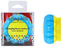 """Parfumuri și produse cosmetice Perie compactă de păr """"Mușețel"""", galben / albastru - Rolling Hills Brosse Desenredar Flower"""
