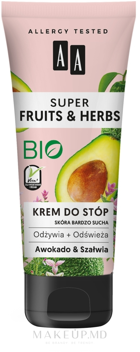 "Крем для ног ""Авокадо и Шалфей"" - AA Super Fruits & Herbs — фото 75 ml"