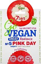 "Parfumuri și produse cosmetice Mască de față ""Nr.5 Pink Day"" - 7 Days Go Vegan Friday Pink Day"