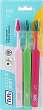 Parfumuri și produse cosmetice Set periuțe de dinți, 3buc, roz + verde deschis + roz deschis - TePe Colour Soft