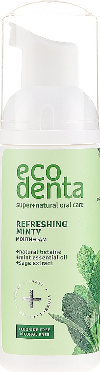 Spumă cu ulei de mentă și betaină naturală pentru cavitatea bucală - Ecodenta Mouthwash Refreshing Oral Care Foam — Imagine N1