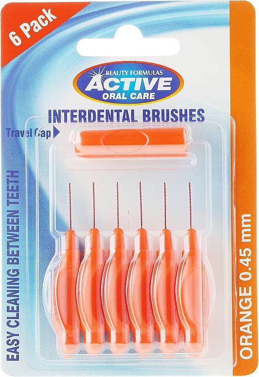 Periuțe interdentale, 0,45 mm, portocalii - Beauty Formulas Active Oral Care Interdental Brushes