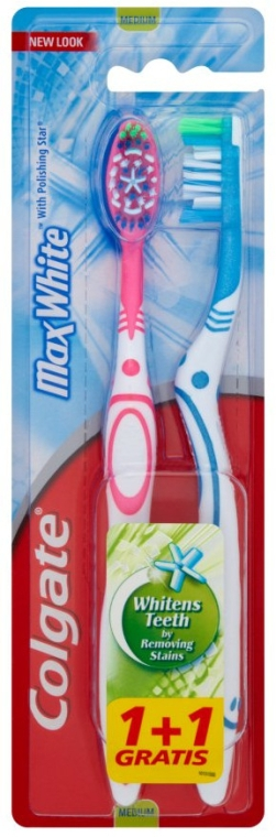 Зубная щетка Max White, голубая + розовая - Colgate Max White Medium Polishing Star