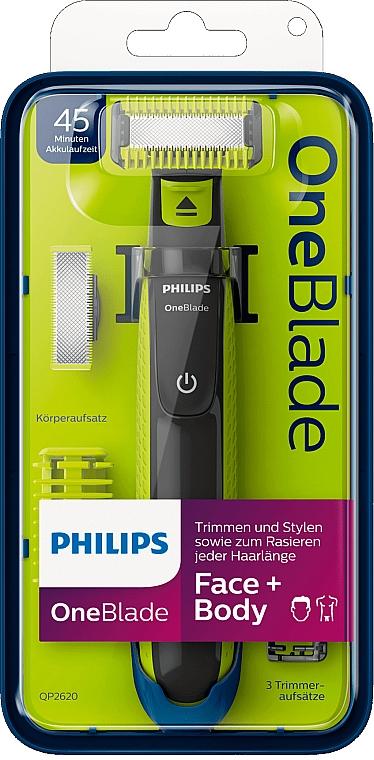 Trimmer pentru față și corp - Philips OneBlade Face + Body QP2620/20