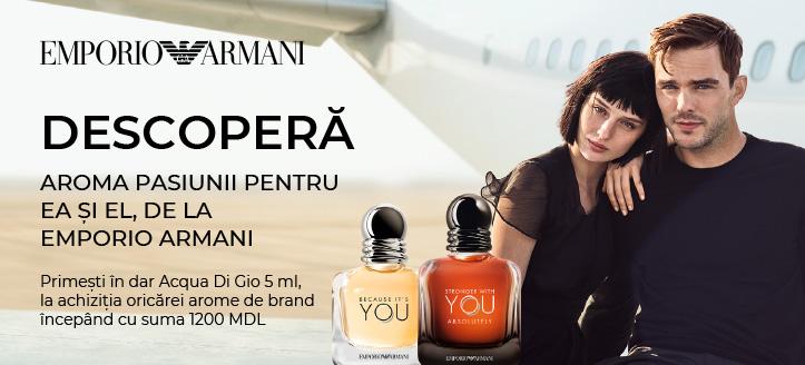 La achiziția oricărei arome de brand Giorgio Armani începând cu suma 1200 MDL, primești în dar Acqua Di Gio 5 ml