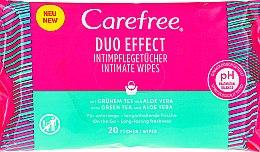 """Parfumuri și produse cosmetice Șervețele umede """"Aloe"""" pentru igienă intimă, 20 bucăți - Carefree Duo Effect"""