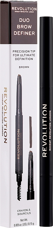 Creion pentru sprâncene - Makeup Revolution Duo Brow Pencil