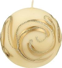 Parfumuri și produse cosmetice Lumânare decorativă, bilă, bej cu decorații, 10 cm - Artman Christmas Ornament