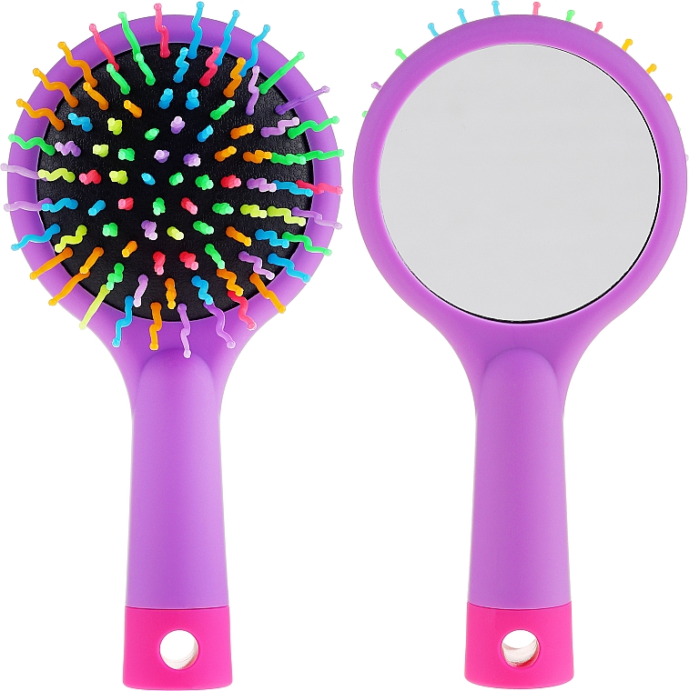 Perie de păr - Twish Handy Hair Brush with Mirror Lavender Floral