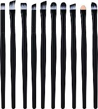 Parfumuri și produse cosmetice Set pensule profesionale de machiaj, 10 buc, negru - Lewer