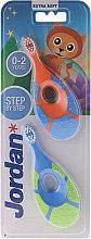 Parfumuri și produse cosmetice Periuță de dinți pentru copii, 0-2 ani, portocaliu + albastru - Jordan Step By Step Soft & Gentle