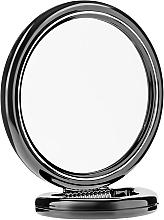 Parfumuri și produse cosmetice Oglindă rotundă cu două fețe, suport, 15 cm, neagră - Donegal Mirror