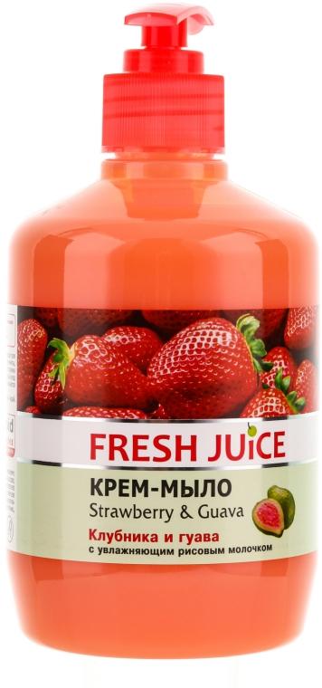 """Cremă-săpun cu lăptișor hidratant din orez """"Căpșună și Guava"""" - Fresh Juice Strawberry&Guava"""