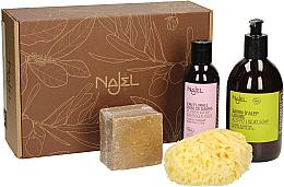 Parfumuri și produse cosmetice Set - Najel (liquid/soap/500ml + soap/200g + sponge/1pcs + water/200ml)