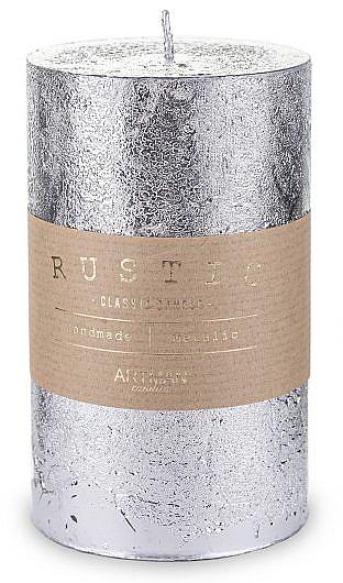 Lumânare decorativă, argintie, 7x14cm - Artman Rustic Metalic — Imagine N1