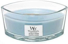 Parfumuri și produse cosmetice Lumânare aromată în suport de sticlă - WoodWick Hearthwick Flame Ellipse Candle Sea Salt & Cotton