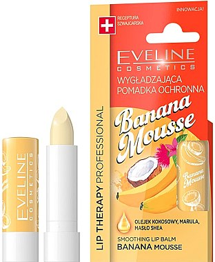 "Balsam de buze ""Banană"" - Eveline Cosmetics Lip Therapy Smoothing Balm Banana Mousse — Imagine N1"