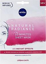 Mască nutritivă de 10 minute pentru față - Nivea Natural Radiance 10 Minutes Sheet Mask — Imagine N1