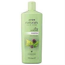"Parfumuri și produse cosmetice Șampon nutritiv ""Urzică și brusture"" - Avon Naturals Stay Strong Shampoo"