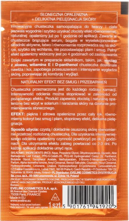 Servețele pentru față și corp - Eveline Cosmetics 3in1 Self Tan Tissue Face and Body Bronzing Wipes — Imagine N2