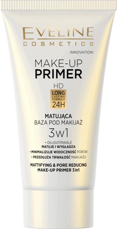 Bază pentru machiaj cu efect matifiant - Eveline Cosmetics Make-up Primer 3v1